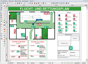 "Screenshot der Software ""Fluchtplan plus"" von HNC Datentechnik GmbH"