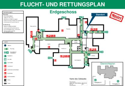 Ein Flucht- und Rettungswegplan, der mit der Software Fluchtplan 2020 der Firma Weise Software GmbH erstellt wurde.