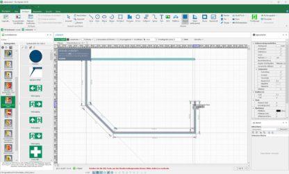 Screenshot der Software im Modus zum Erstellen eigener Grundrisse für den Flucht- und Rettungsplan