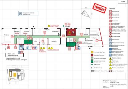 """Feuerwehrplan und Laufkarten mit Symbolen, erstellt mit der Software """"Fluchtplan 2020"""" der Weise Software GmbH"""