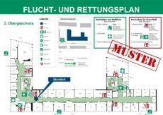 Beispiel eines Flucht- und Rettungsplans für eine größere Büroetage
