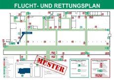 Beispiel für einen Flucht- und Rettungsplan DIN A2 einer größeren Industriehalle
