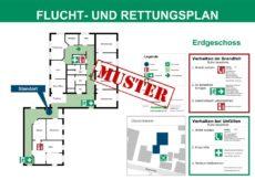 Beispiel eines Flucht- und Rettungsplans gem. DIN ISO 23601 für eine Arztpraxis mit Labor