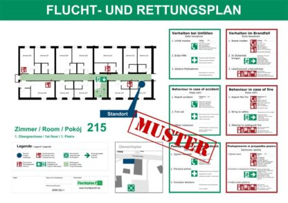 Flucht- und Rettungsplan Zimmerplan Hotel mehrsprachig