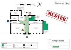 Beispiel für einen Feuerwehrplan/Geschossplan gem. DIN 14095 einer Schule/Bildungseinrichtung