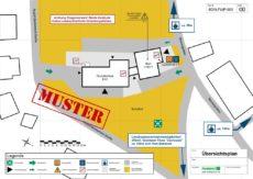 Beispiel für einen Feuerwehrplan/Übersichtsplan gem. DIN 14095 für eine Schule/Bildungseinrichtung
