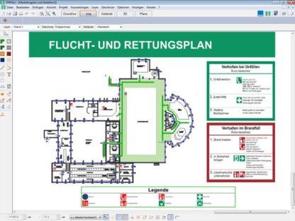 Mit der Software Feuerwehr-, Flucht- und Rettungspläne erstellen Sie Norm-konforme Fluchtpläne nach DIN ISO 23601