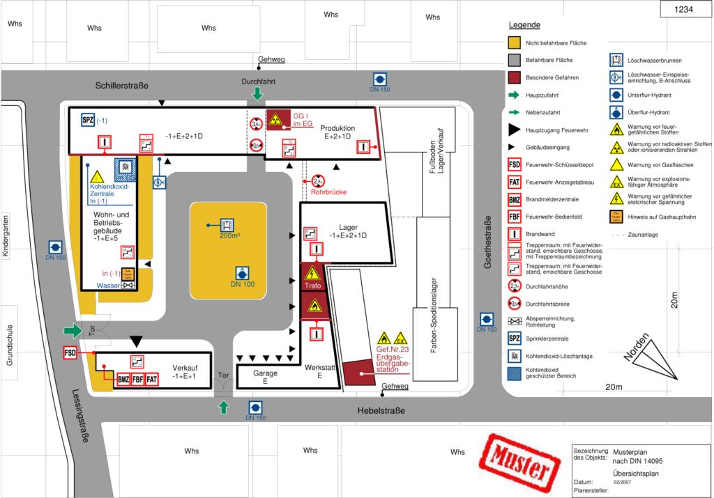Feuerwehrplan nach DIN 14095, hier Übersichtsplan