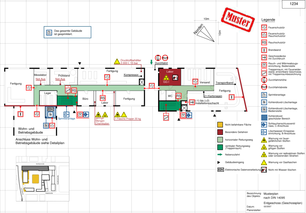 Geschossplan als Bestandteil eines Feuerwehrplans nach DIN 14095