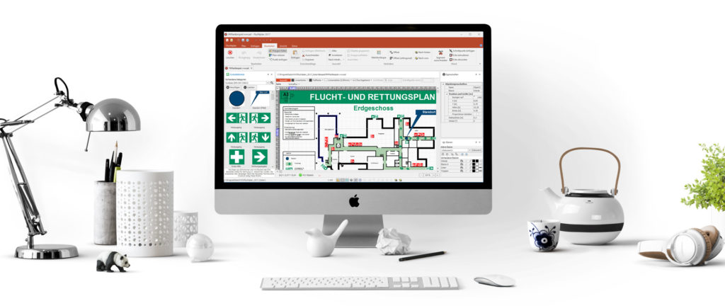 Arbeitsplatz mit Fluchtplan Software mit der man Flucht- und Rettungsplan erstellen kostenlos kann.