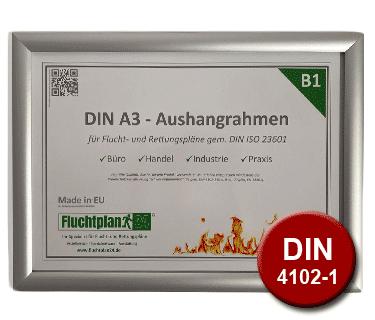 Produktbild des B1 Aluminium-Klapprahmen gem. DIN 4102-1 für Flucht- und Rettungspläne