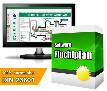 "Die professionelle Softwarelösung ""Fluchtplan 2020"" dient zur Erstellung von Flucht- und Rettungswegplänen gem. DIN ISO 23601"