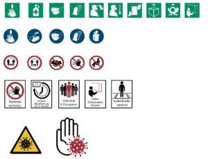 COVID-19 Infektionsschutz Piktogramme (Auszug)