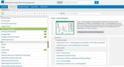Fluchtplan24.de - Betriebliches Brandschutzmanagement Software: Screenshot der Themen-Übersichtsseite