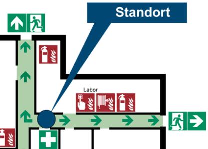 Detailansicht des Beispiels eines Flucht- und Rettungsplanes