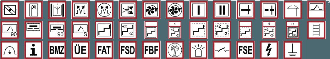 Einige Symbole die in einem Feuerwehrplan gem. DIN 14095 zum Einsatz kommen