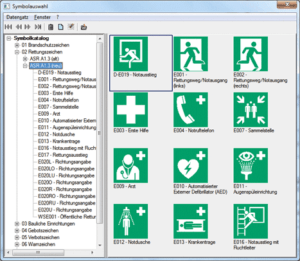 "Screenshot der Symbolbibliothek in der Software ""Fluchtplan plus"" von HNC Datentechnik GmbH"