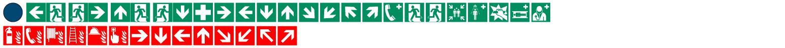 Bei Flucht- und Rettungsplänen gem. DIN ISO 23601 kommen diese Sicherheitszeichen zum Einsatz